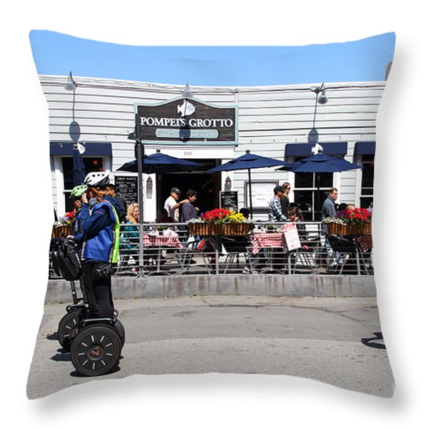 Segway Patrol At Pompeis Grotto Restaurant . Fishermans Wharf . San Francisco California . 7d14198 Throw Pillow by Wingsdomain Art and Photography