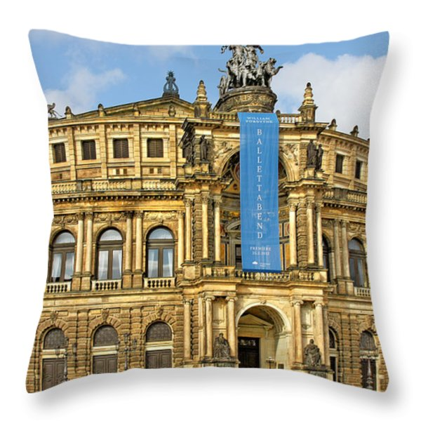 Semper Opera House Dresden Throw Pillow by Christine Till