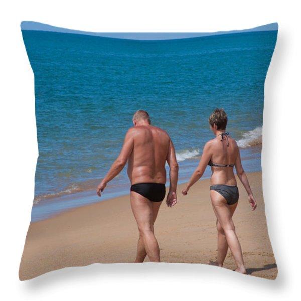 senior elderly  lover couple Throw Pillow by ATIKETTA SANGASAENG
