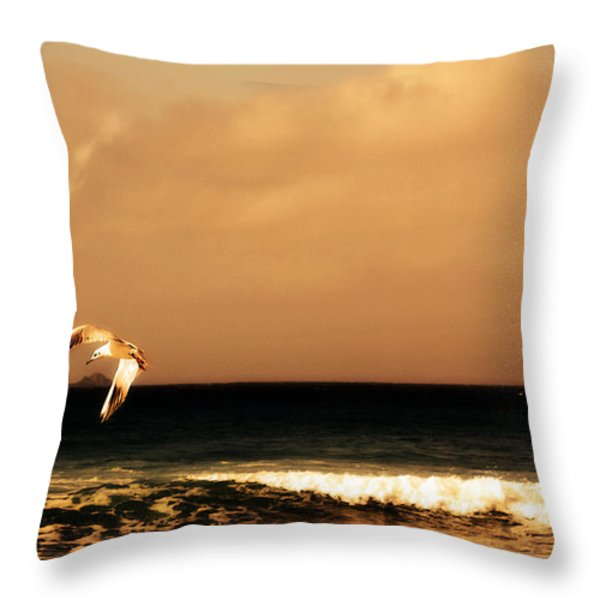 Sennen seagull Throw Pillow by Linsey Williams