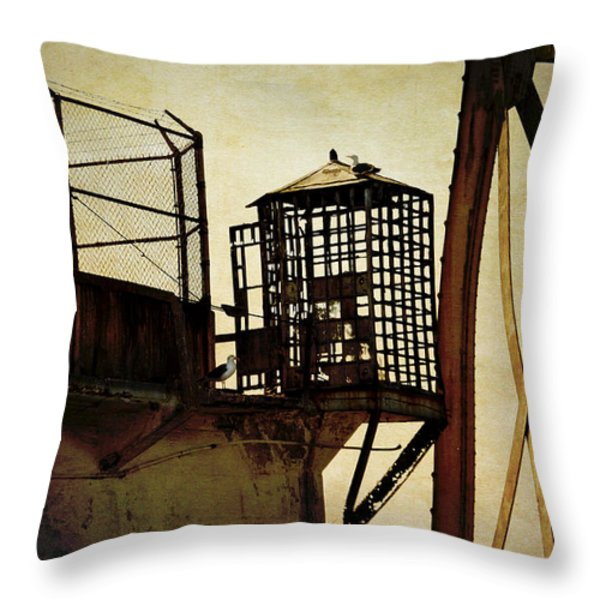 Sentry Box In Alcatraz Throw Pillow by RicardMN Photography