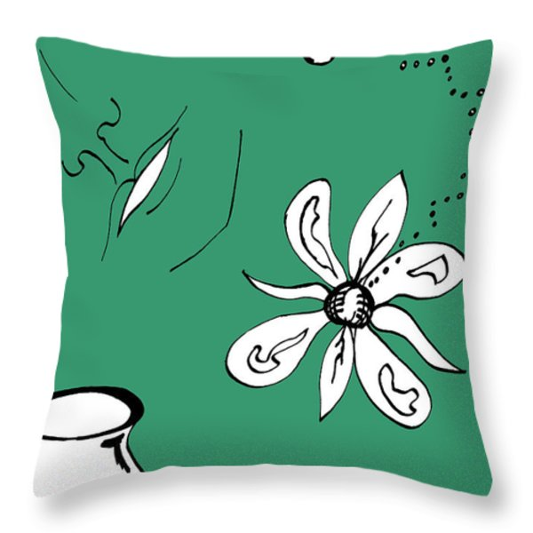 Serenity In Green Throw Pillow by Mary Mikawoz