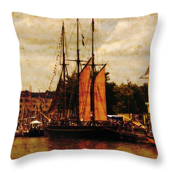 Setting Sail From Bristol Throw Pillow by Brian Roscorla