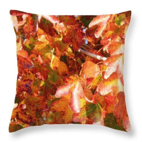 Seurat-like Fall Leaves Throw Pillow by Carol Groenen
