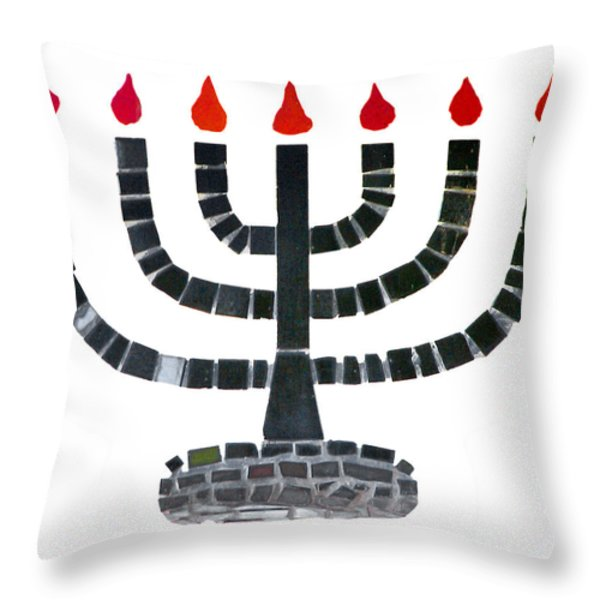 Seven-branched Temple Menorah Throw Pillow by Christine Till