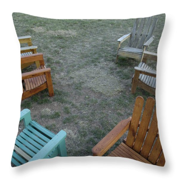Several Lawn Chairs Scattered Throw Pillow by Joel Sartore