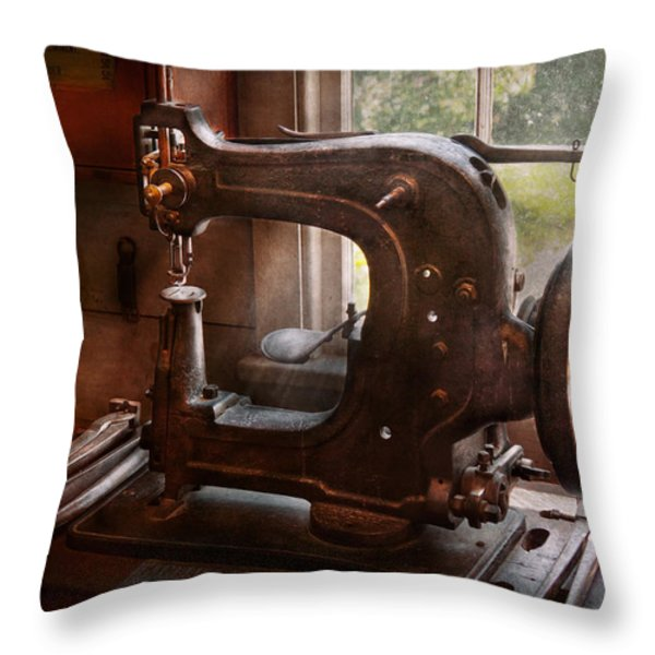 Sewing Machine - Leather - Saddle Sewer Throw Pillow by Mike Savad