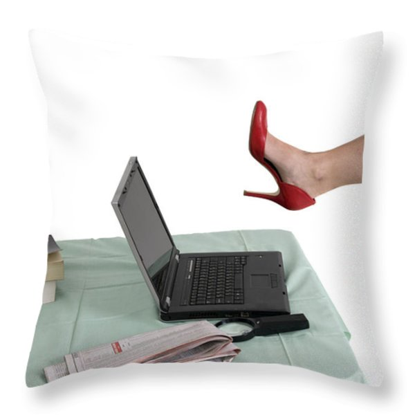 Sexy woman kicks a laptop  Throw Pillow by Ilan Rosen