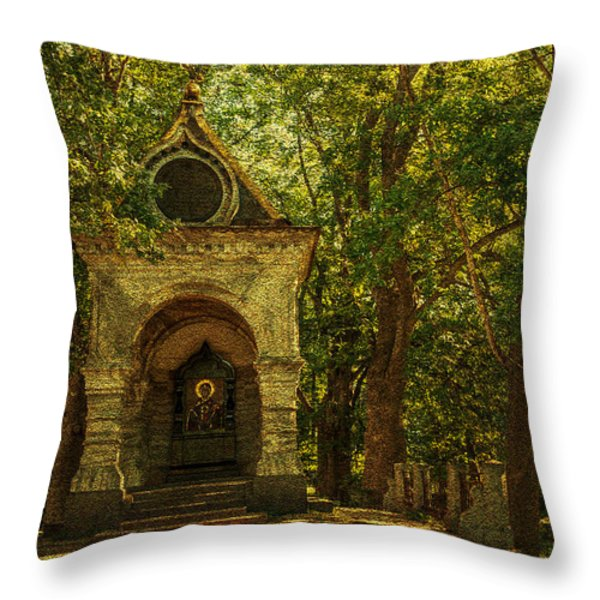 Shaded Chapel. Golden Green Series Throw Pillow by Jenny Rainbow