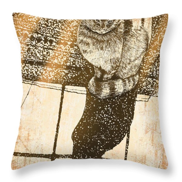 Shadow Cat Throw Pillow by Laura Brightwood
