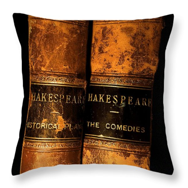 Shakespeare Leather Bound Books Throw Pillow by The Irish Image Collection
