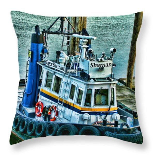 Shaman Tug-HDR Throw Pillow by Randy Harris