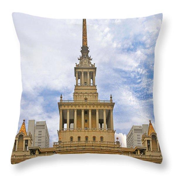 Shanghai Exhibition Center - Soviet Friendship Mansion Throw Pillow by Christine Till