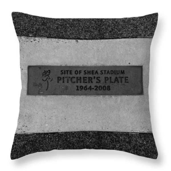 SHEA STADIUM PITCHERS MOUND in BLACK AND WHITE Throw Pillow by ROB HANS