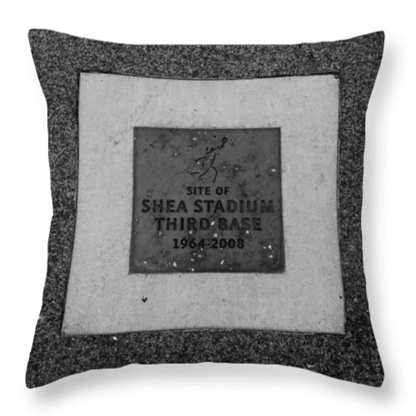 Shea Stadium Third Base In Black And White Throw Pillow by Rob Hans
