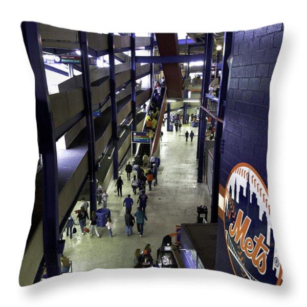 Shea Stadium Walkways Throw Pillow by Paul Plaine