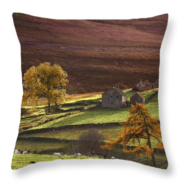 Sheep On A Hill, North Yorkshire Throw Pillow by John Short