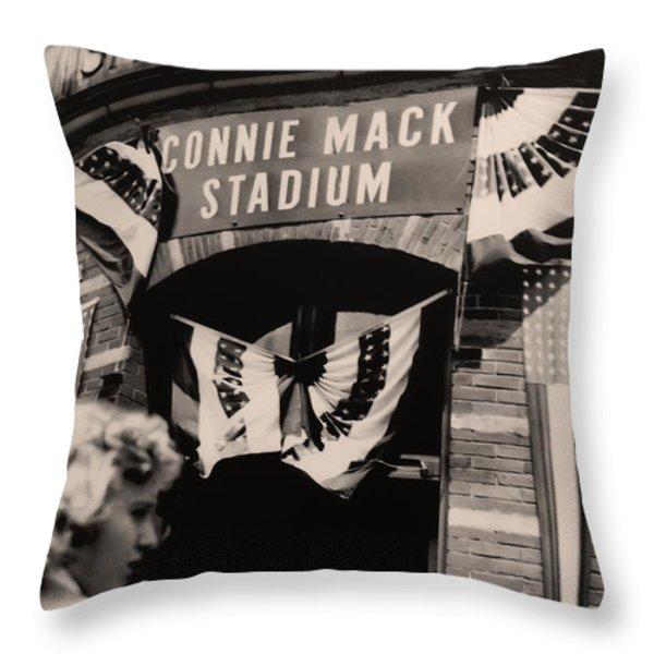 Shibe Park - Connie Mack Stadium Throw Pillow by Bill Cannon