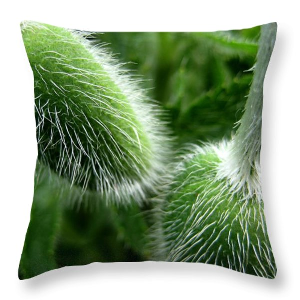 Shirley Poppy Buds Throw Pillow by Shirley Sirois