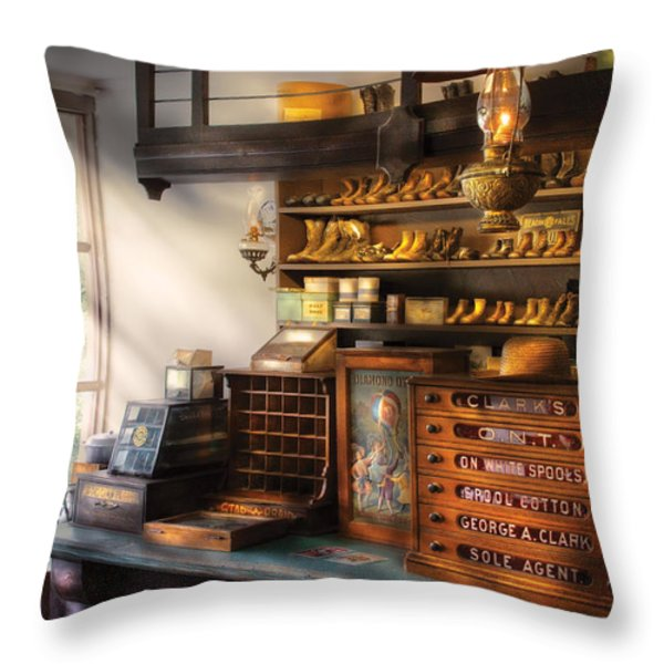 Shoe Maker - Shoes For Sale Throw Pillow by Mike Savad