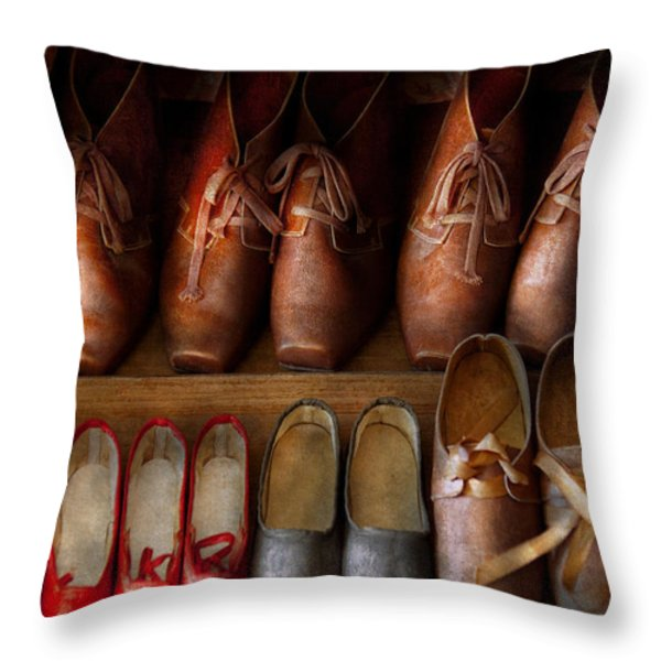 Shoemaker - Shoes Worn In Life Throw Pillow by Mike Savad