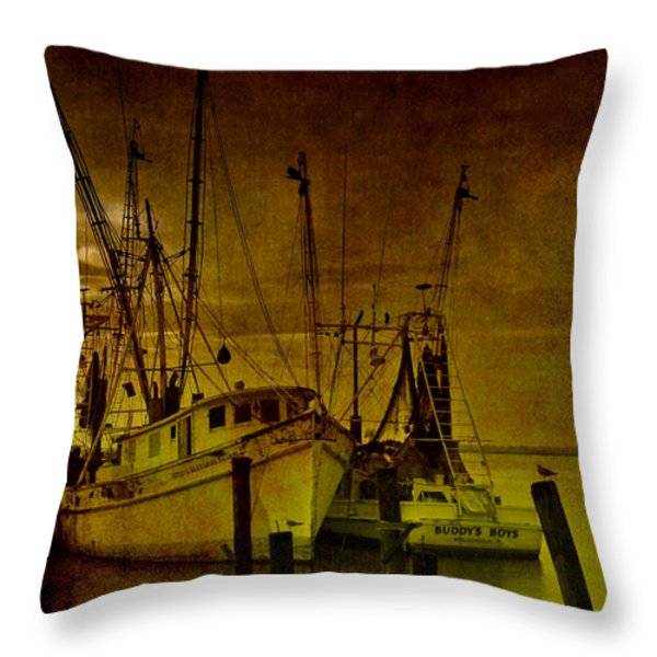 Shrimpboats in Apalachicola  Throw Pillow by Susanne Van Hulst