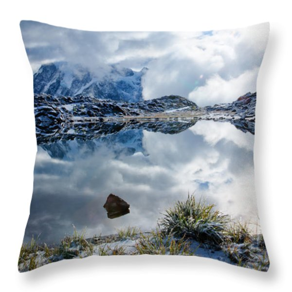 Shuksan In Fog Throw Pillow by Idaho Scenic Images Linda Lantzy