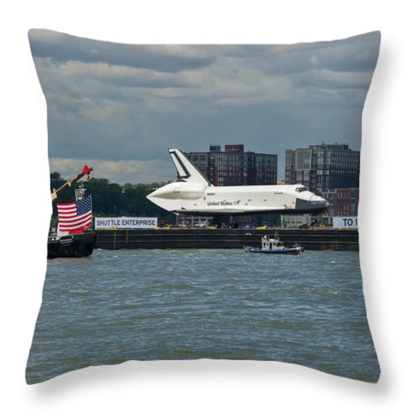 Shuttle Enterprise flag escort Throw Pillow by Gary Eason