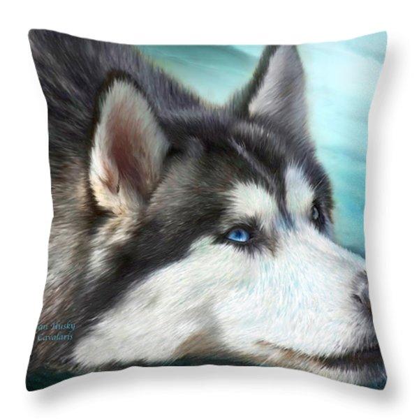 Siberian Husky Throw Pillow by Carol Cavalaris