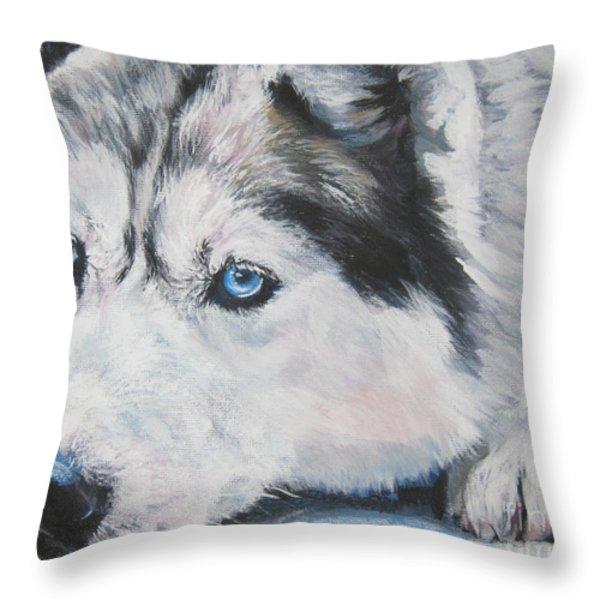 Siberian Husky up close Throw Pillow by L A Shepard