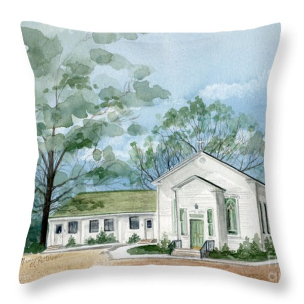 Sicklerville 1859 Church  Throw Pillow by Nancy Patterson