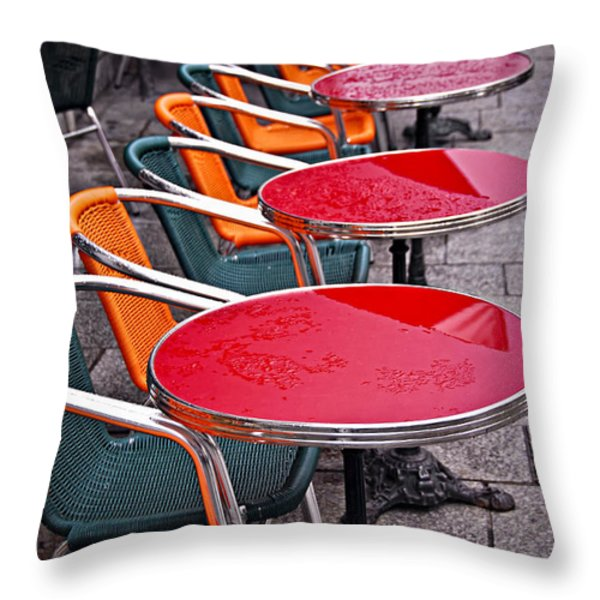 Sidewalk cafe in Paris Throw Pillow by Elena Elisseeva