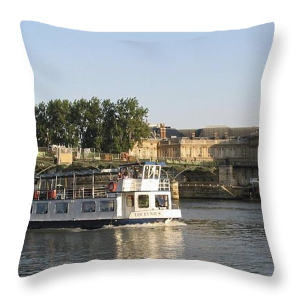 Sightseeing Boat On River Seine. Paris Throw Pillow by Bernard Jaubert