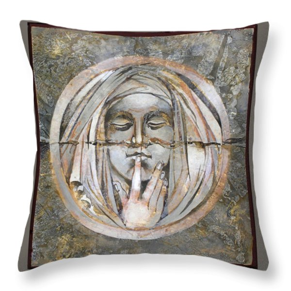 Silence Throw Pillow by Mary jane Miller