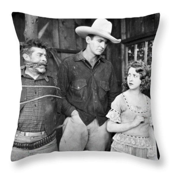 Silent Film: Cowboys Throw Pillow by Granger