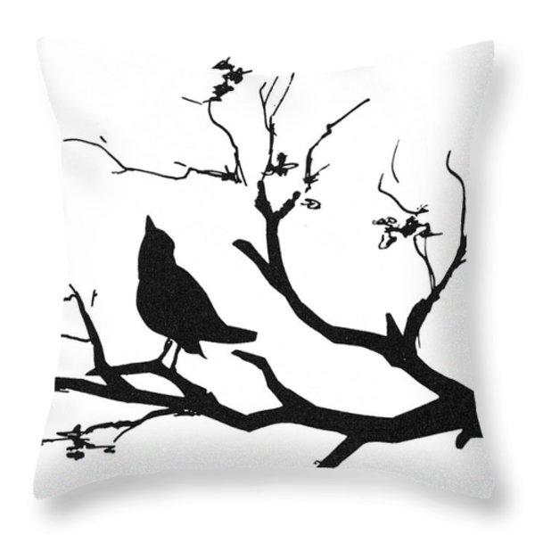 Silhouette: Bird On Branch Throw Pillow by Granger