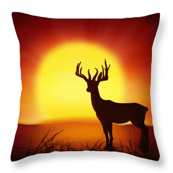 Silhouette Of Deer With Big Sun Throw Pillow by Setsiri Silapasuwanchai