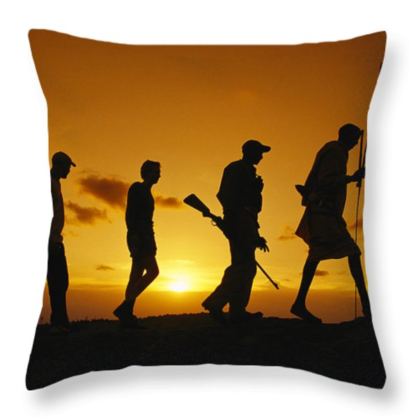 Silhouette Of Laikipia Masai Guides Throw Pillow by Richard Nowitz