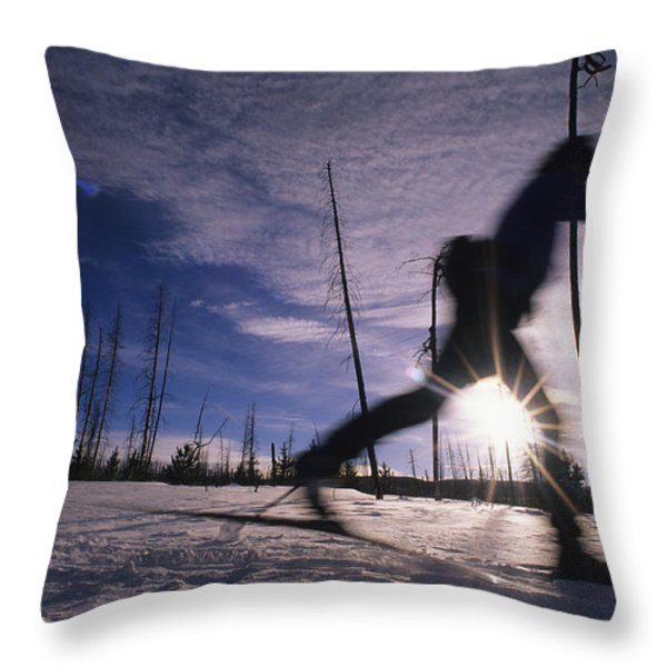 Silhouette Of Of Women Cross County Throw Pillow by Bobby Model