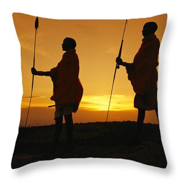 Silhouetted Laikipia Masai Guides Throw Pillow by Richard Nowitz