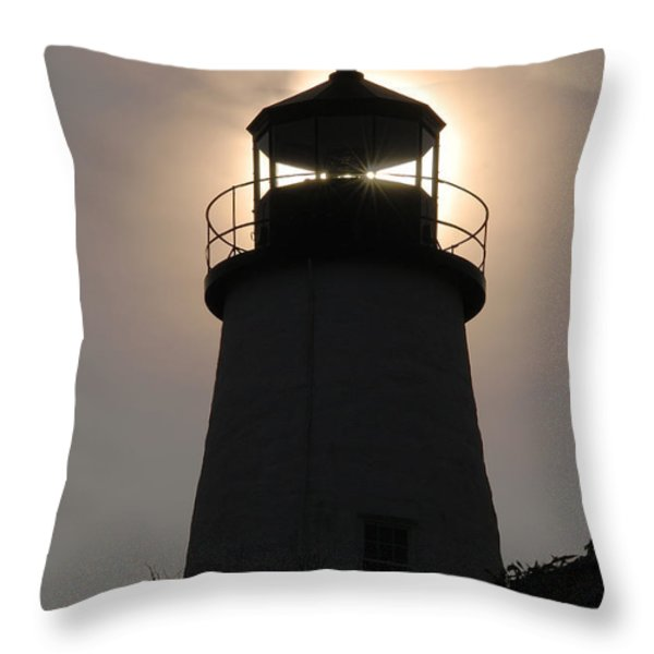 Silhouetted Pemaquid Lighthouse Throw Pillow by Darlyne A. Murawski