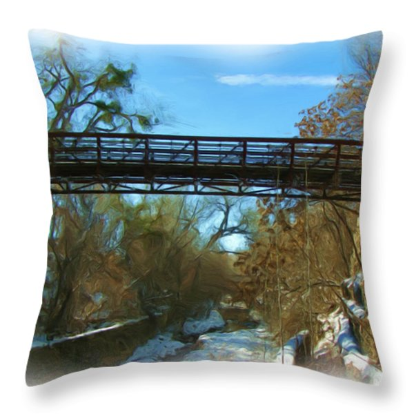 Silver City Big Ditch In Winter Throw Pillow by FeVa  Fotos