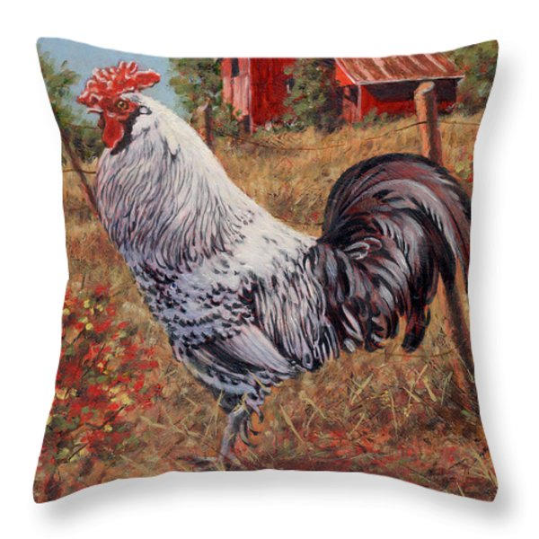 Silver Laced Rock Rooster Throw Pillow by Richard De Wolfe