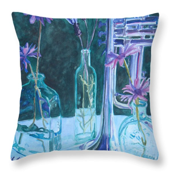 Silvery Night Music Throw Pillow by Jenny Armitage