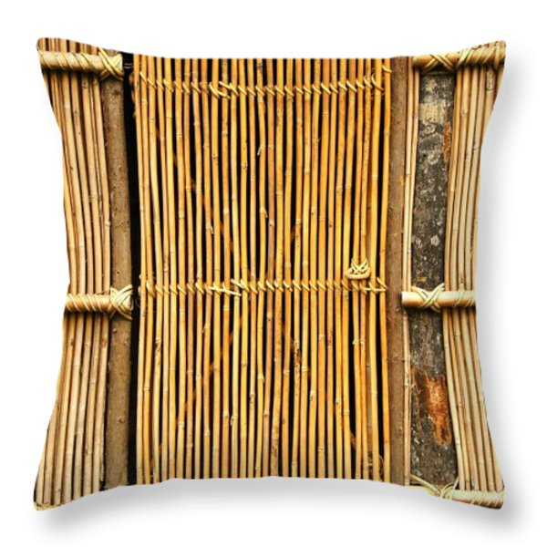 Simple Bamboo Door Throw Pillow by Yali Shi