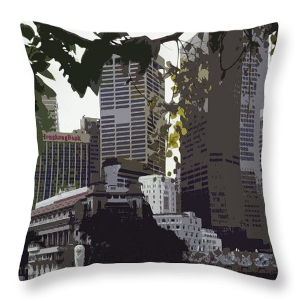 Singapore's Merlion Throw Pillow by Juergen Weiss