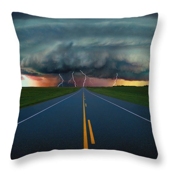 Single Lane Road Leading To Storm Cloud Throw Pillow by Don Hammond