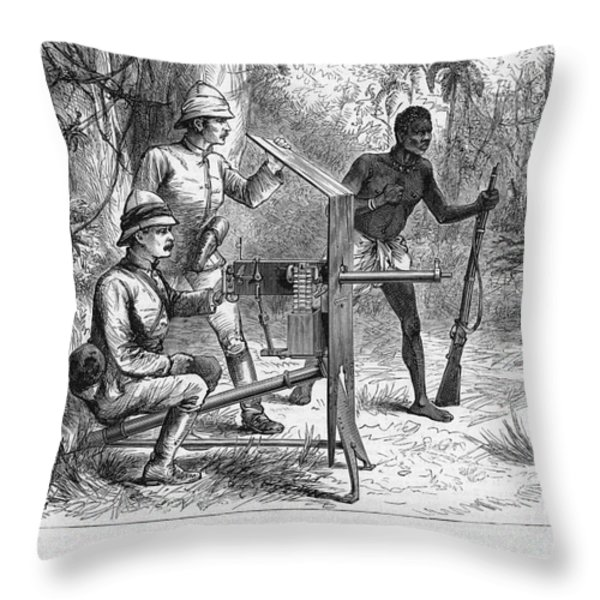 Sir Henry Morton Stanley (1841-1904). English Journalist And Explorer. Wood Engraving From An English Newspaper Of 1887 Throw Pillow by Granger
