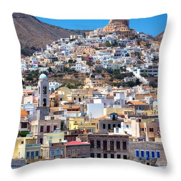 Siros Throw Pillow by Emmanuel Panagiotakis
