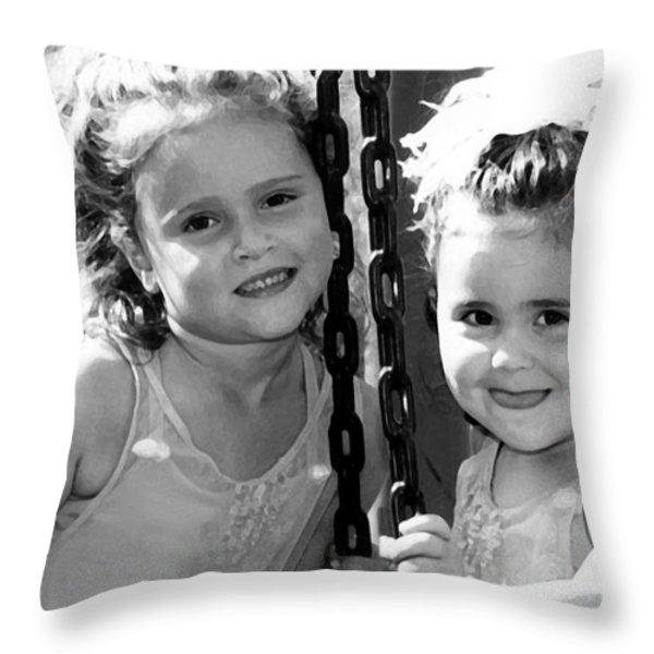 Sisters Portrait Throw Pillow by Susan Stevenson